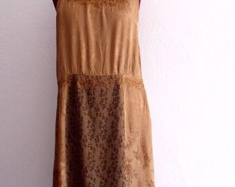Bronze Satin Slip Dress