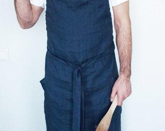Linen apron Men's aprons, Custom color apron or Indigo linen aprons for man, long apron for men, blue apron