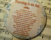 Nurse's Magnet - Nursing is an Art by Florence Nightingale  - 3.5 Inch - Large Magnet - Gift for Nurses