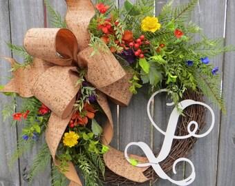 Spring / Summer Wreath, Wreath for Spring / Summer, Cork Wreath, Spring Monogram Wreath, Wreath with Letter, Horn's