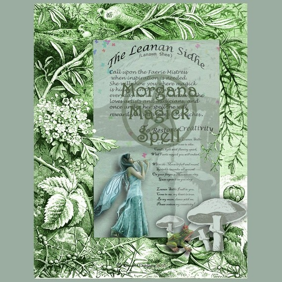 The LEANAN SIDHE, Digital Download,  Inspiration Spell, Faerie,   Book of Shadows Page, Grimoire, Scrapbook, Spells
