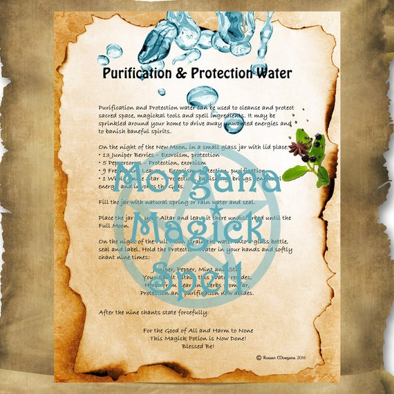 PURIFICATION & PROTECTION Water Digital Download, Book of Shadows,Grimoire, Scrapbook,  Wicca, Pagan, Witchcraft, White Magick, Magick Spell