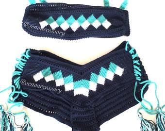 Ethnic Pattern Wayuu Bikini Crochet Bikini Boy Shorts Bottom Womens Swimwear Summer Fashion Boho Brazilian Bikini / senoaccessory