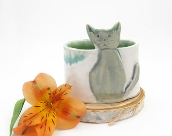 Cat Indoor Planter. Gifts for the cat lover. Handmade Pottery. Modern Ceramics