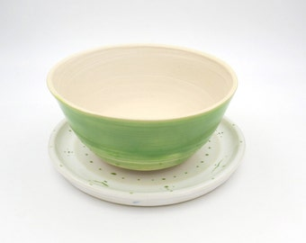Pottery Planter and Plate. Green. Handmade Pottery. ceramics and pottery.