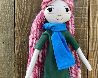 James Doll, handmade doll, organic doll, handmade, rag doll, cloth doll, organic toy, heirloom doll, heirloom, organic, pink hair doll