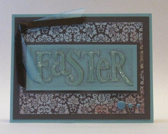 Easter Card - Damask Blue - Hand Stamped