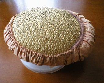 Vintage Straw Hat By Designer Chanda ~ Vintage Designer Straw Hat With Satin Rim  &   Original Store Labels ~ Purchased in Buffalo, New York