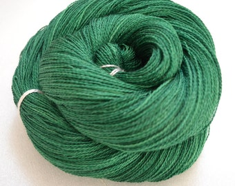 Hand dyed yarn, lace weight, silk superwash merino posh yarn 2 ply 870 yards 100g for knitting crochet, green, handdyed