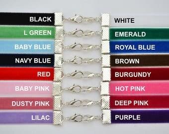 "PLAIN VELVET CHOKER - Choose Your Classic 10mm 3/8"" Ribbon Colour (Berisfords Quality - Handmade To Size)"