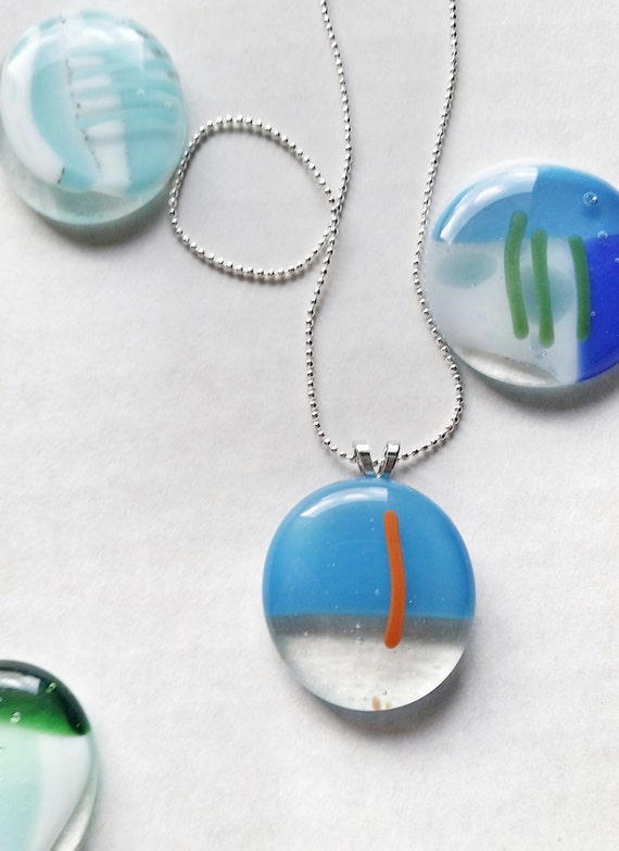 Glass Pendant on Silver Chain, Blue and Orange