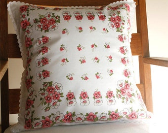 Pillow Cover, Vintage Handkerchief, Pink Flowers, Mother's Day Gift, Springtime, Handmade