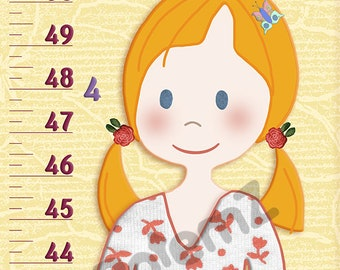 Girls Room Decor -Height Chart Canvas or Vinyl ,Feet and Inches or Meters and Centimeters