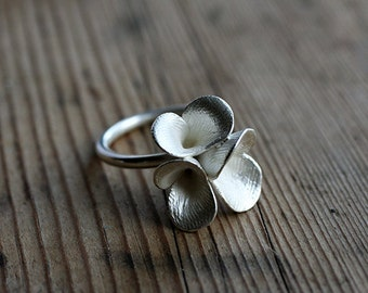 Floral Pods Ring, cast silver ring