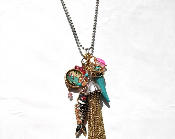 Gold Chain Tassel Necklace - with Flamingo Pendant, Vintage Koi Fish Charm and Turquoise Claw