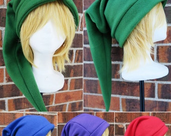 Zelda Link Cap or Hat - Green, Red, Blue, Purple - Fleece Hat Adult, Teen, Kid - A winter, nerdy, geekery gift!