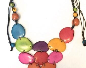 Tagua Necklace/ Bib Tagua Necklace/ Boho Necklace /Statement Necklace