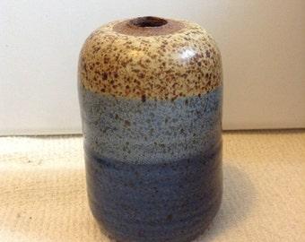 Signed Stoneware Studio, ROTH Art Pottery Weed Pot.  Vintage Vase.  Beautiful Blue Glaze.