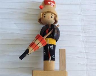 Wood Kokeshi Doll Figure with umbrella .  Made in Japan.  Vintage Modernist. Mod, Mid century.