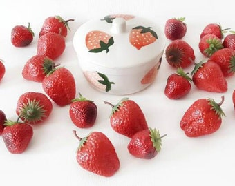 Vintage Pottery Box with Strawberries Pattern