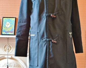 Vintage 1960s 1970s black original mod indie retro parka jacket duffel coat