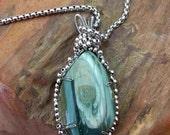 Beautiful Soft Green Imperial Jasper Pendant Necklace