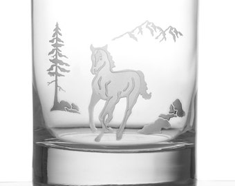 Horse, 13oz Rocks Glass, Etched (Sandblasted), Original Design