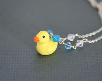 Rubber Ducky Necklace Swarovski Crystal Yellow Duck - made from a small rubber duck