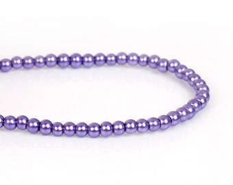 3mm PURPLE GRAPE Round Glass Pearl Beads, double strand, about 270 beads, bgl1604