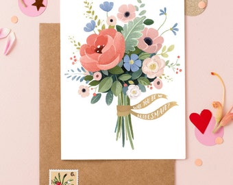 Will You Be My Bridesmaid Card - Wedding Bouquet Flowers 2