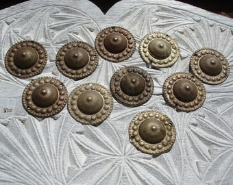 10 x Turkoman style very tarnished silver colour large  buttons with two holes