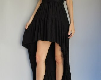 moon euphoria -black modal paired with vintage 60's floral lace maxi dress - bohemian chic hippie bridesmaid festival xs