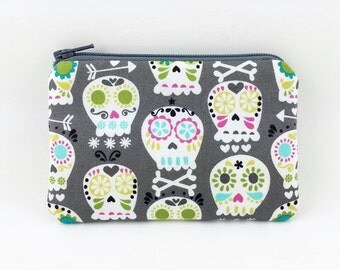 Sugar Skulls, Coin Purse, Mini Pouch, Change Purse, Padded Pouch, Gift for her, Card Wallet, Gray, Gift idea