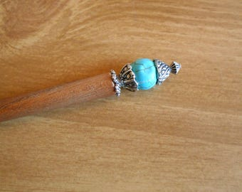 Tiny Fancy Death Star - turquoise magnesite hair stick, beaded hairstick, hair pin