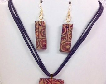 Red and Gold Ethnic Necklace and Earrings Set