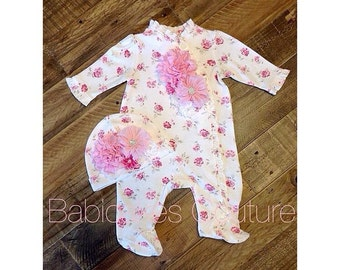 Newborn Footie, Baby Girl Footie & Hat, Newborn Take Home Outfit, Coming Home Outfit, Floral Footie Set, Newborn Footed Romper, Baby Footie