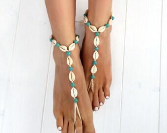 Seashell Jewelry- Body Jewelry- Foot Jewelry- Seashell Anklet- Turquoise and Seashells Barefoot Sandals- Boho Jewelry- Beach Wedding Sandals