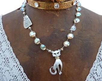 SASSY CAT  vintage antique KITTEN assemblage necklace