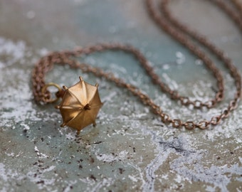 Tiny Umbrella Necklace - Little Copper brolly - Quirky jewelry