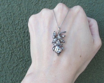 Antique Georgian Era Sterling Silver and Gold Rose Cut Diamond Floral Pendant Necklace