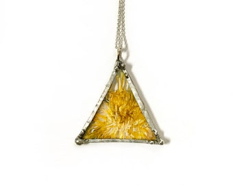 Pressed Flower Dandelion Triangle Necklace