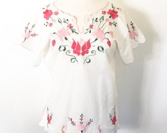 Vintage 1970s Handmade Mexican Embroidered Pink Floral Shirt with Scalloped Edges- size 36
