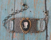 Upcyled Cameo Bracelet, repurposed, victorian, one of a kind jewelry