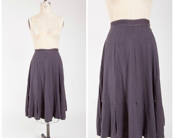 Vintage 40s Skirt • Take My Hand • Grey Rayon Weave 40s Skirt with Inverted Pleats Size Small