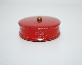 Antique 1920's J.B. Carroll Chicago Little Red Tape Measure - Advertising Measuring Tape - Pocket Travel Miniature - Collectible