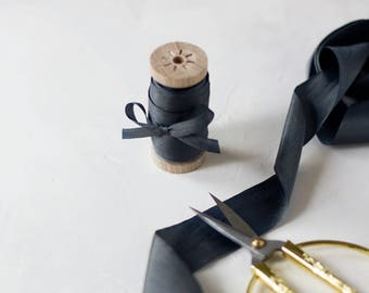 "Charcoal Gray Hand-Dyed Silk Ribbon (with Wooden Spool) - 5 yards - 1.25"" wide"