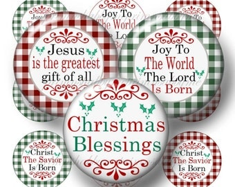 Christmas, Bottle Cap Images, Digital Collage Sheet, Christian, Jesus, 1 Inch Circle, Instant Download, Joy To The World, Sayings, Religious