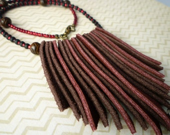 Suede Leather Fringe Necklace - Hand Cut Suede Leather Fringe & Seed Bead Necklace