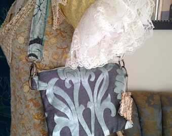 10 in Clutch in Teal Mint Blue Green Damask Cut Velvet Mini Mia 10 inch Clutch with shoulder strap Ready To Ship