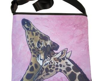 Giraffes Large Cross Body Handbag by Salvador Kitti - Large Bucket Bag - From My Painting, Comfort